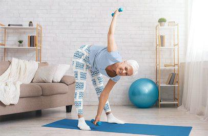 Leggings Mockup of a Senior Woman Exercising at Home 36994-r-el2