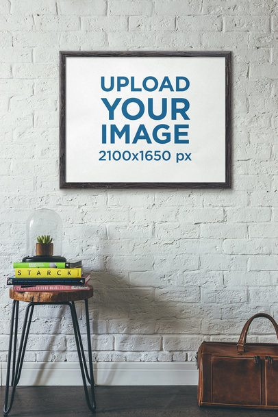 Art Print Mockup Featuring a Leather Suitcase and a Small Table 4879-el1