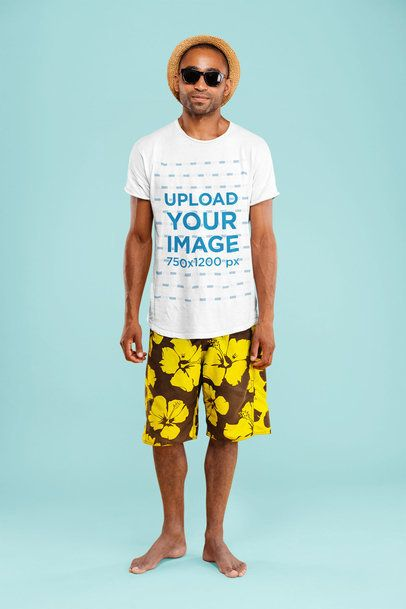 T-Shirt Mockup of a Man with a Beach Style Posing at a Studio 34849-r-el2