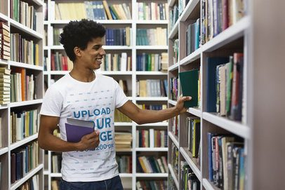Round-Neck Tee Mockup of a Man at a Library 38826-r-el2
