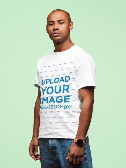 T-Shirt Mockup of a Serious Man Standing Still 37705-r-el2