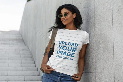 T-Shirt Mockup of a Woman Posing by a Stairway 4825-el1