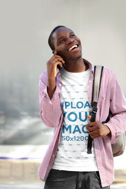 Tee Mockup of a Happy Man Talking on the Phone 3760-r-el2