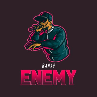Logo Template for a Gaming Squad Featuring a Rapper Illustration 3409a