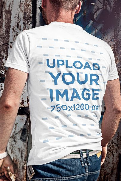 Back-View Mockup of a Man Wearing a T-Shirt on a Sunny Day 4800-el1