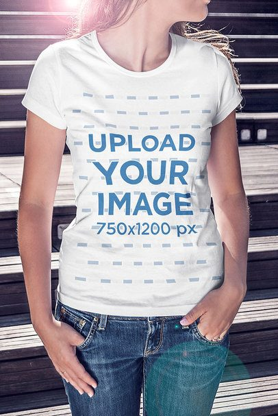 T-Shirt Mockup Featuring a Woman and a Flare 4803-el1