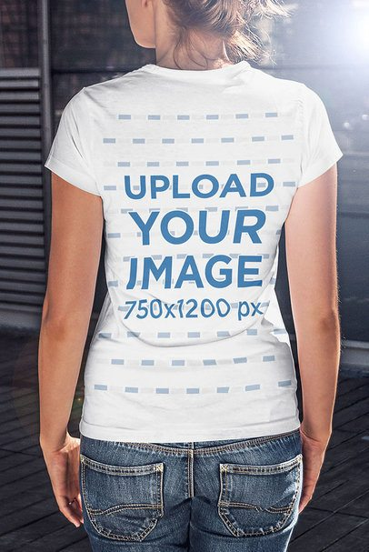 Back-View T-Shirt Mockup of a Woman Standing Straight 4805-el1