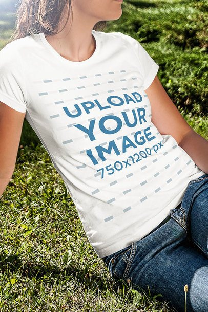 Crew Neck T-Shirt Mockup of a Woman Sitting on the Grass 4807-el1