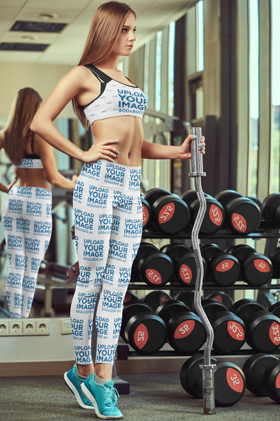 Mockup of a Woman at a Gym Wearing Sports Bra and Leggings 38560-r-el2