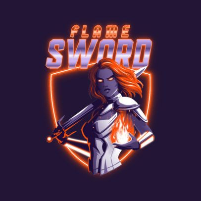 Logo Creator for a Gaming Team Featuring a Swordswoman with Neon Graphics 3403f