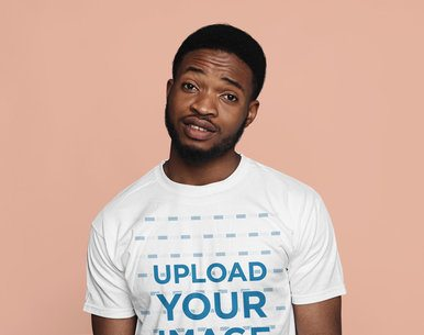 T-Shirt Mockup Featuring a Young Bearded Man in a Studio 38953-r-el2