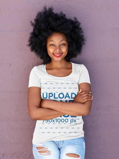 T-Shirt Mockup of a Happy Woman with Natural Hair Leaning on a Purple Wall 38791-r-el2