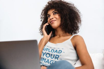 Tank Top Mockup of a Woman Working from Home 38859-r-el2
