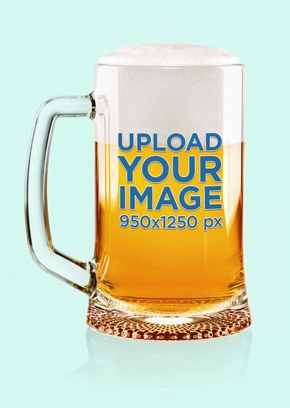 Mockup of a Beer Glass Featuring a Plain Color Background 37312-r-el2