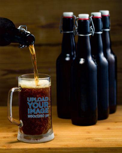Beer Glass Mockup Featuring Some Bottles of Dark Beer 35989-r-el2