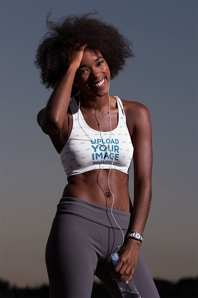 Sports Bra Mockup of a Woman Having Fun While Exercising  38505-r-el2