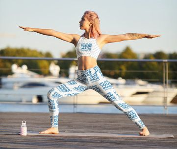 Leggings and Sports Bra Mockup of a Woman Doing a Yoga Pose 38589-r-el2