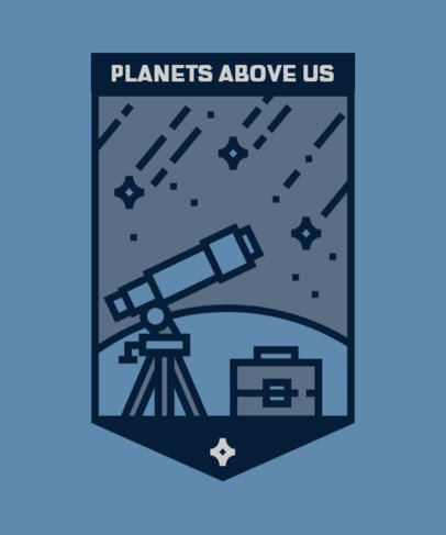 T-Shirt Design Creator Featuring a Telescope and a Meteor Shower 2088b-el1