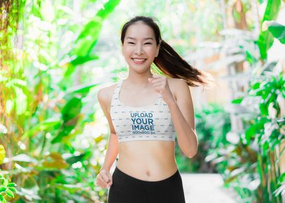 Sports Bra Mockup of a Woman Surrounded by Plants 38457-r-el2