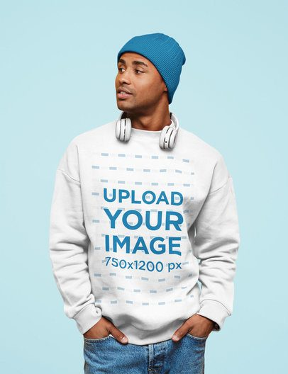 Sweatshirt Mockup of a Man with Headphones Posing at a Studio 38940-r-el2