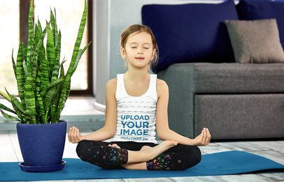 Tank Top Mockup of a Girl Meditating at Home 38488-r-el2