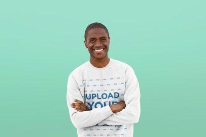 Mockup of a Smiling Man Wearing a Crewneck Sweatshirt 38835-r-el2