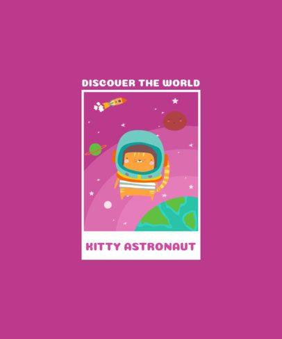 T-Shirt Design Maker Featuring a Kitty Astronaut 2096a-el1