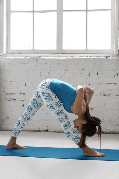 Mockup of a Woman Wearing Leggings While Doing a Yoga Pose 38428-r-el2