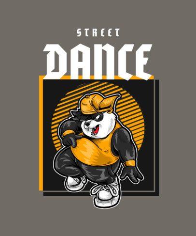 Illustrated T-Shirt Design Maker Featuring a Street Dancer Panda 2083e-el1