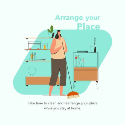 Illustrated Instagram Post Design Maker Featuring a Woman Cleaning Her House 1998d-el1