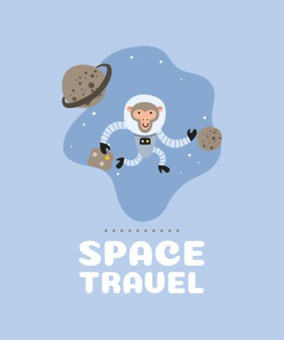 T-Shirt Design Creator with the Illustration of a Monkey Travelling Through Space 2179b-el1