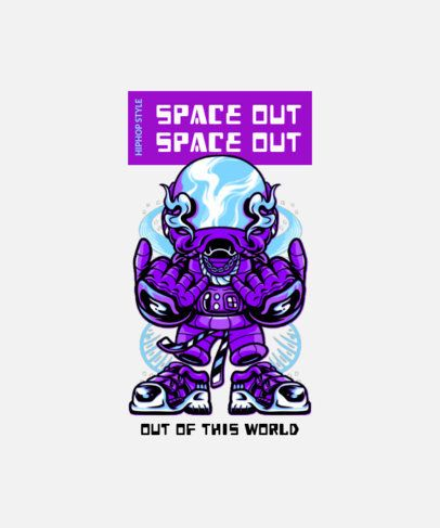 T-Shirt Design Template with a Street-Style Alien 2081a-el1