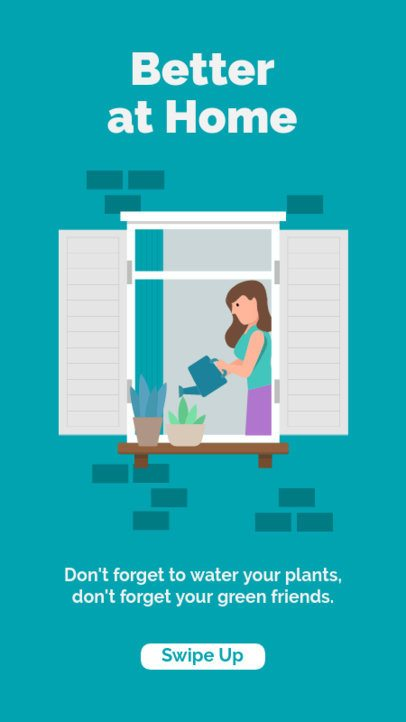 Instagram Story Generator with an Illustration of a Woman Watering Her Plants 1981a-el1