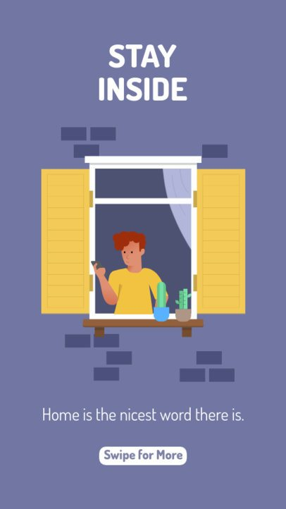 Illustrated Instagram Story Template Featuring a Man at Home 1981b-el1