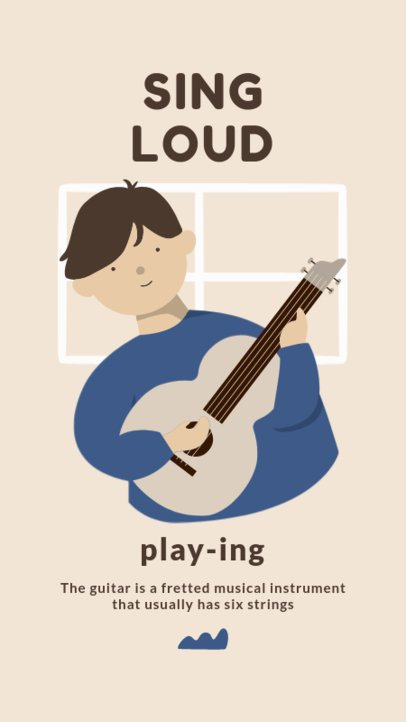 Instagram Story Template with an Illustration a Man Playing the Guitar 1990e-el1