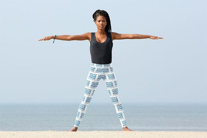 Mockup of a Woman with Leggings Doing Yoga by the Ocean 38407-r-el2