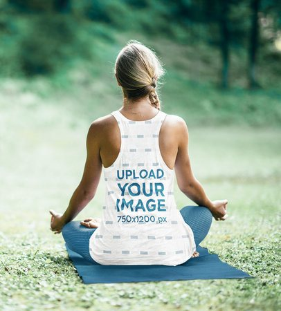 Back View Mockup of a Woman Wearing a Sublimated Tank Top While Meditating 38739-r-el2