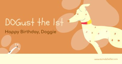 Facebook Post Generator with a Cute Dog Illustration for Dogust 1st 2702g