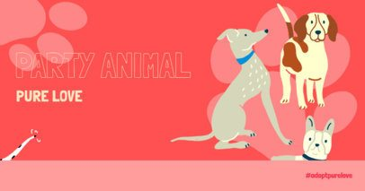 Facebook Post Maker with Dog Illustrations of an Animal Party 2702i