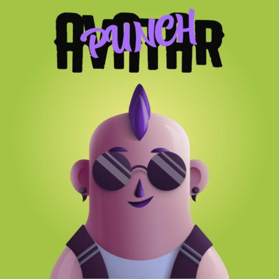 Music Avatar Logo Maker Featuring a Character with a Mohawk 3428a