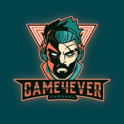Cool Logo Maker for Gaming Channels Featuring an Angry Gamer Illustration 3421m