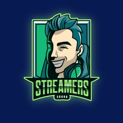 Logo Maker for a Gaming Streaming Channel Featuring a Happy Gamer Illustration 3421p