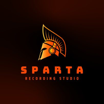 Logo Generator for a Music Recording Studio Featuring a Spartan Helmet Clipart 3427h