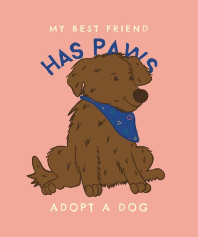 Cause T-Shirt Design Template to Promote Pet Adoption 2701a