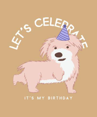T-Shirt Design Maker Featuring a Birthday Puppy Illustration 2701e