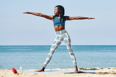 Leggings Mockup of a Woman Doing a Standing Yoga Pose by the Beach 38718-r-el2