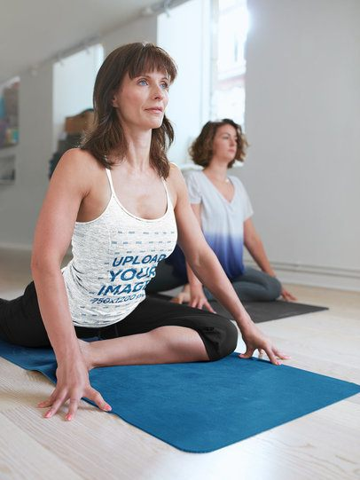 Heathered Tank Top Mockup of a Woman Taking a Yoga Class 38349-r-el2
