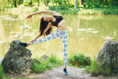 Leggings Mockup of an Athletic Woman Stretching by a Pond 38395-r-el2