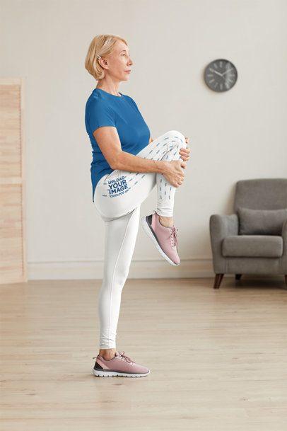 Leggings Mockup of a Senior Woman Stretching at Home 38584-r-el2