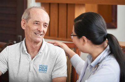 Polo Shirt of a Senior Man Talking to a Woman 39165-r-el2